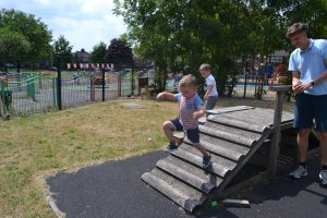 Outdoor area at Happy Kids Delamere Park, Manchester Day Nursery