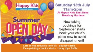 SUmmer Open day at Happy Kids Clifton and East Dene, Rotherham day nurseries
