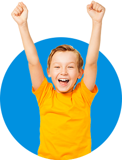 Kid in a blue circle