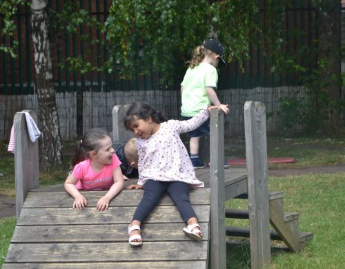 Outdoor at Happy Kids Heybury Close, Manchester day nursery